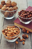 Nut mix in glass bowls Royalty Free Stock Photo