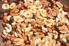 Nut mix. A mix of nuts, on wooden background Stock Photography