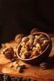 Nut mix on wooden Stock Photo