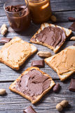 Nut nougat cream with chocolate and peanut Stock Photography