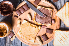 Nut nougat cream with chocolate and peanut Stock Photo