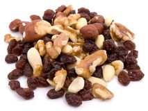 Nut  pistachios raisin walnut almond Stock Image