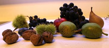 Nut plum chestnut apple pear grapes fruit kesten stock photo