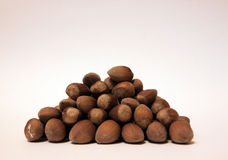 Nut pyramid. Pyramid of hazelnuts with wormed nut on top Royalty Free Stock Photography