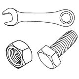 Nut and screw. Line arts nuts and screw Royalty Free Stock Photo