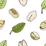 Nut seamless on white background. Hand drawn colorful pattern with pistachio. Stock Photo