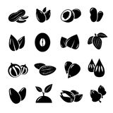 Nut and seed black vector icon. Nut, food, natural seed, nutrition nuts ingredient, icon seed and nuts organic illustration Stock Photography