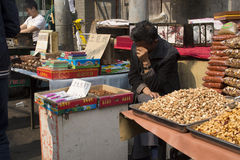 Nut seller in Xi'an weekend market Royalty Free Stock Photos