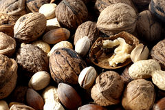 Nut. Some nuts, walnuts, hazelnuts and pistachios royalty free stock photography