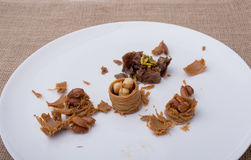 Nut stuffed dessert of mini size crushed Stock Images
