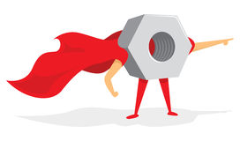 Nut super hero standing or mechanic with cape Royalty Free Stock Photography