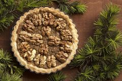 Nut tart stock photo