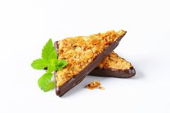 Nut triangles dipped in bittersweet chocolate Royalty Free Stock Photos