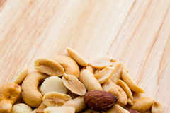 Nut wooden background Royalty Free Stock Image