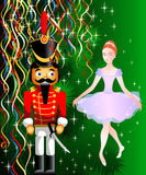 Nutcracker. Christmas card with Nutcracker and ballet doll Royalty Free Stock Photography