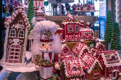 Free Nutcracker And Houses Of Christmas Village At Store In Sea World Stock Image - 163786031