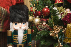 Nutcracker and Christmas Decorations Royalty Free Stock Photos