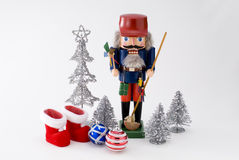 Nutcracker and christmas ornament Stock Images