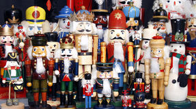 Nutcracker Collection. Colorful collection of wooden Christmas nutcrackers, old and new Royalty Free Stock Images