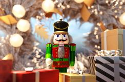 Nutcracker decorated for Christmas royalty free stock photography
