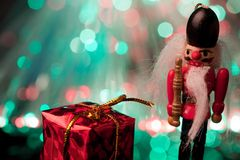 Nutcracker and giftbox Royalty Free Stock Images