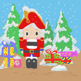 Nutcracker with gifts Royalty Free Stock Photography