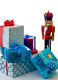 Nutcracker guarding presents Royalty Free Stock Image