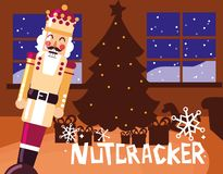 Nutcracker king with tree christmas. Vector illustration design stock illustration