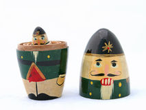 Nutcracker Mini Me. A Russian nesting Christmas nutcracker, taken apart with the littlest one peering out royalty free stock photo