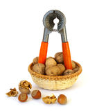 Nutcracker and nuts isolated Stock Photo