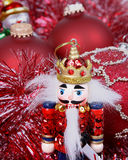 Nutcracker and ornaments Royalty Free Stock Photography