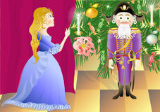 Nutcracker and princess Mari (vector). Illustration to a fairy tale Hoffmann. Nutcracker and King of mice. For the book publication Stock Image