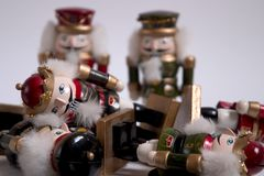 Nutcracker Rumble. A pile of nutcrackers stock images