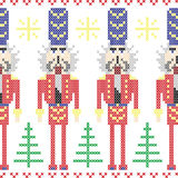 Nutcracker soldiers seamless Christmas Nordic pattern in cross stitch Stock Image