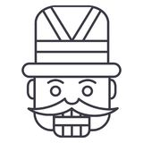 Nutcracker,toy soldier vector line icon, sign, illustration on background, editable strokes. Nutcracker,toy soldier vector line icon, sign, illustration on white Royalty Free Stock Photo