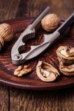 Nutcracker and walnuts Stock Photography
