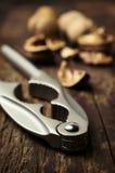 Nutcracker and walnuts close-up Royalty Free Stock Photos