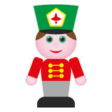 Nutcracker. Wooden toy soldier in red uniform with green hat Vector Illustration