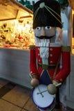 Nutcracker and Xmas decorations in Vilnius Christmas Bazaar Royalty Free Stock Photos