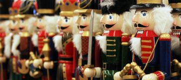 Nutcrackers. Row of nutcrackers with shallow depth of field Stock Image