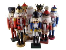 Nutcrackers. A group of traditional holiday nutcrackers isolated on white Stock Photos