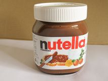 Nutella瓶子 免版税图库摄影