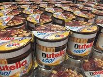 Nutella & закуска Go с питьем Estathé стоковые фото