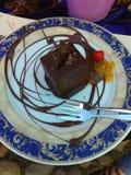 Nutella blu di colore del deserto di soddisfazione del cioccolato del piatto dolce della decorazione Immagine Stock Libera da Diritti