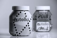 Nutella chocolate cream, white background royalty free stock image