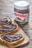 Nutella hazelnut rozciągnięty słój Fotografia Stock