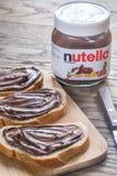 Nutella hazelnut rozciągnięty słój Zdjęcia Stock