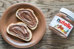 Nutella hazelnut rozciągnięty słój Obraz Royalty Free
