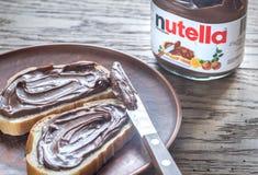 Nutella hazelnut rozciągnięty słój Fotografia Royalty Free