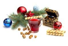 Nutlets, herbacianej i iglastej gałąź z choinki decoratio, Fotografia Stock